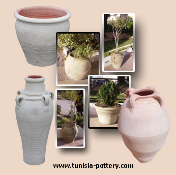 Tunisia pottery Garden pottery Natural pottery glazed pottery Ornamental pottery Bonsai pot export and wholesale pottery terra cotta indoor and outdoor decoration pot Jarre Vase Amphora